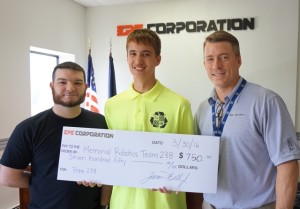 """James """"JD"""" Bell Jr. (pictured right), presents check to Hunter Davies (center), Team 238 Robotics member, and Tom Paquin (right), Team 238 Robotics coach."""